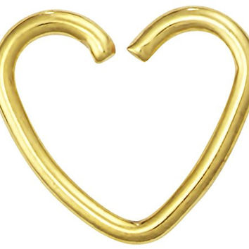 Fake Cartilage Earring: Titanium IP Plated Surgical Steel Gold Heart Shaped Clip-On Cartilage Hoop