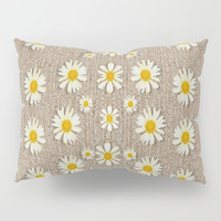 Star fall of fantasy flowers on pearl lace Pillow Sham by Pepita Selles