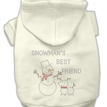 Snowman's Best Friend Rhinestone Dog Hoodie Cream/Small