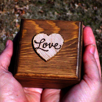 rustic ring box personalized wedding ring box ring bearer ring box wooden heart box