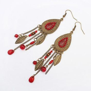 Indian Jewelry Boho Earrings Colorful Crystal  Beads Long Leaves Tassel Drop Ethnic Earrings New Brincos 1E426 red