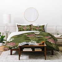 Pimlada Phuapradit Wildflowers Olive green Duvet Cover