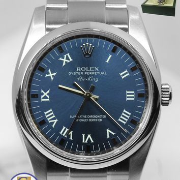 MINT Rolex Oyster Perpetual Air-King 34mm Blue Roman 114200 Stainless Watch