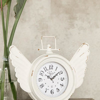 Time Flies White Table Clock