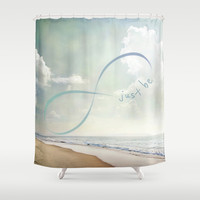 Just Be Shower Curtain by NisseDesigns