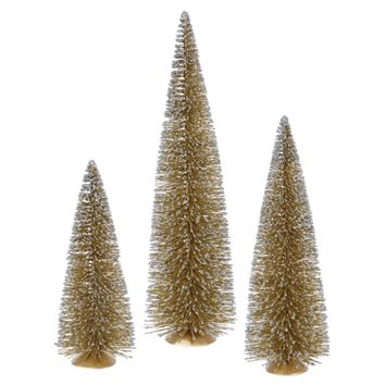 Set of 3 Whimsical Gold Glitter Artificial Mini Village Christmas Trees - Unlit
