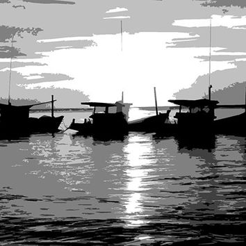 B/W Boating Sunset Acrylic Popart Painting (Preview - See Me On The Wall)