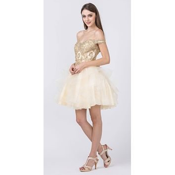 Off-Shoulder Homecoming Tiered Short Dress Champagne/Gold