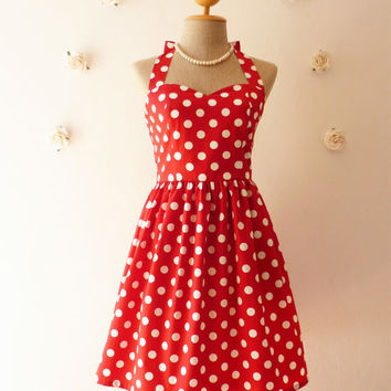 Red Summer Dress Red Party Dress Polka Dot Dress Vintage Inspired Dress Dot Pin Up Dress Minnie Dress Once Upon a Time -Size XS,S,M,L,Custom