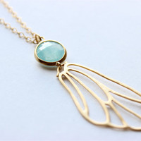 "Gold Necklace - Angel Wing Necklace - Long Necklace - 24"" - Matte Gold Angel Wing & Light Blue Glass Stone Pendant on Matte Gold Chain"