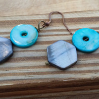 Mother of Pearl Beaded Handmade Earrings, Aqua Blue and Smokey Grey Stacked Flat Earrings for Women,