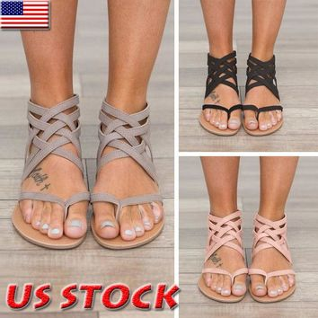 Women Strappy Gladiator Low Flat Heel Summer Flip Flops Beach Sandals Shoes Size