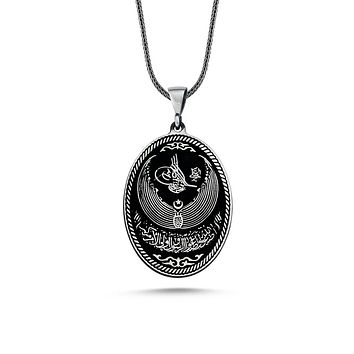 Calligraphy ottoman sultan signature pendant 925k sterling silver necklaces with chain