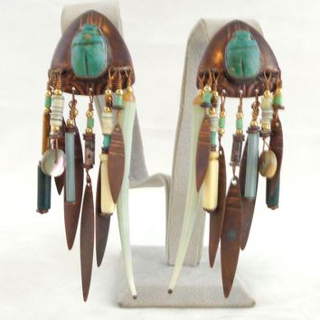 Vintage TABRA Scarab Egyptian Tribal Copper Turquoise Earrings