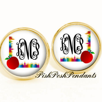 Monogram Earrings - Personalized Jewelry - Teacher Monogram Gift - Monogram Gift - Monogram Jewelry - Style 635