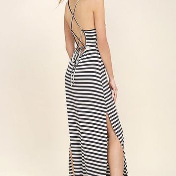 O'Neill Como Navy Blue and Cream Striped Maxi Dress