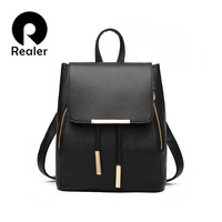 Realer brand women backpack,pretty style school backpack for teenage girls school bags for teenagers,PU leather backpack black
