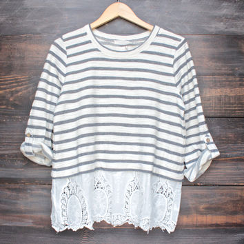 oversize striped button-up back vintage lace hem womens sweater top