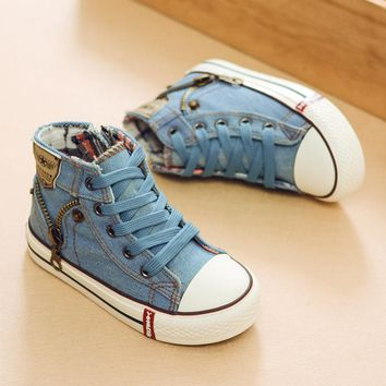 2018 Autumn Expert Skill Children Casual Shoes Boys Girls Sport Shoes Breathable Denim Sneakers Kids Canvas Shoes Baby Boots
