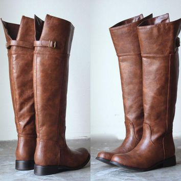 Rider's womens tall distressed riding boots - tan