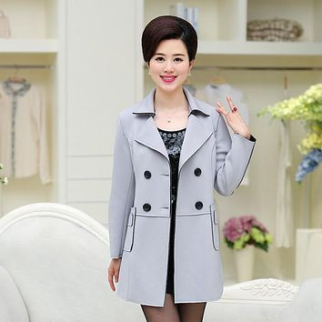 Suede Fabric Trench Overcoat Double-Breasted Fall Winter Middle Age Mother Turn-Down Collar Plus Size Women Slim Coat Outerwear