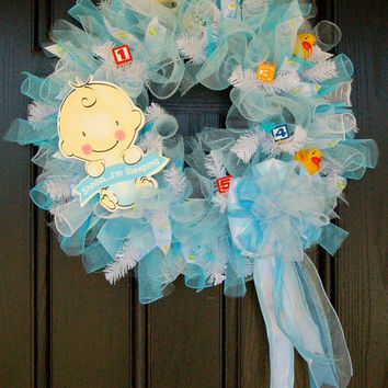 It's a boy  Baby shower wreath or great by FrontDoorExpressions