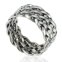925 Sterling Silver 11 mm Wide Braided Woven Celtic Knot Band Thumb Ring - Nickle Free Size 11
