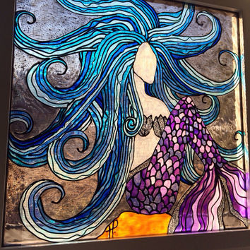 Mermaid with blue hair - glass painting