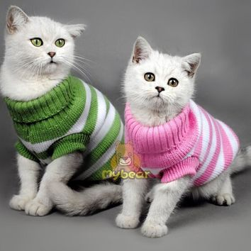 NEW Candy Stripe Color Warm Winter Spring Cat Sweater Pet Jumper Cat Clothes For Small Cat Dog Pets