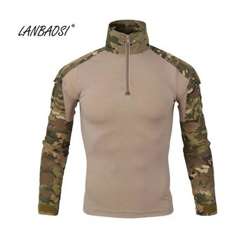 LANBAOSI Outdoor Sports Men's Tactical Shirts Army Military Camo Battle Camouflage Soldier Fighter Hunting Coat Shooting Tops