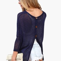 Button Back Knit in Navy