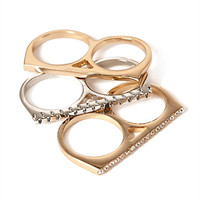 FOREVER 21 Multi-Finger Rhinestone Ring Set Gold/Silver
