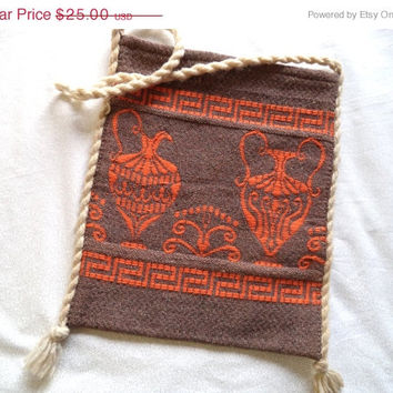 SALE Made in Greece woven bag/ vintage hippie festival Greek bag/ brown and orange with rope handle bag