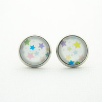 Star Earrings - Glass Dome Earrings - Tiny Star - Posts - Fake Plug Gauges - Star Studs - 10mm - 12mm - Colorful Earrings - Cute - Teen