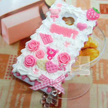 HTC One 4G LTE M7 Skin Case: Kawaii Cute Pink Whip Cream Bling Sweets Deco Back Hard Case Cover (SW)