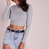 Missguided - High Neck Ribbed Crop Top Grey Marl
