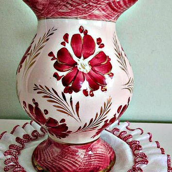 FREE SHIPPING! Stunning Ceramic Vase from Germany, Red Flowers Design, German Pottery, Table decor, Home Decor, 1950s
