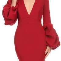 D6089-8147 Solid techno knit body con dress with v-neck