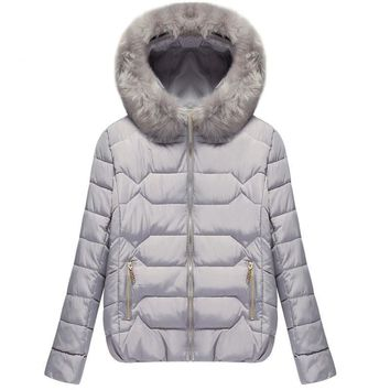 Thick Cotton Fur Hooded Coat