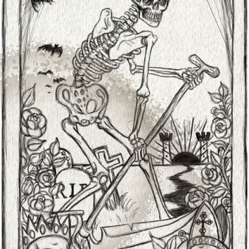 Death Card Tarot stretched canvas print