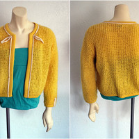 Rockabilly Styled Vintage Lemon Yellow Sweater by mandylopandy