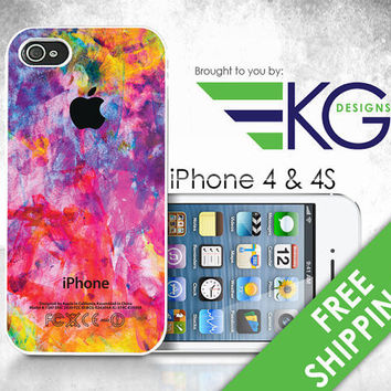 iPhone 4 & 4S Hard Case  Colorful  Phone Cover by KirbyGraphix