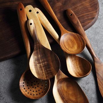 Wooden Kitchen Spoon Set - Cooking Tools
