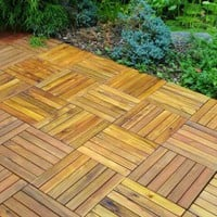 Acacia Wood 6-Slat Interlocking Deck Tiles, 10-Count