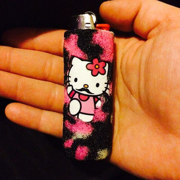 Hello Kitty mustache!  Handmade Pink tie-dye Lighter Case