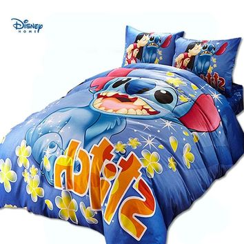 blue disney Lilo Stitch comforter bedding set single twin full queen king size boy children cotton sheet set cartoon duvet cover