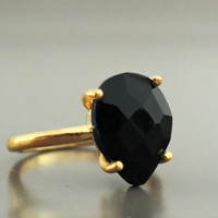Black Onyx Ring - Gold Ring - Gemstone Ring - Pear Shaped Ring - Stacking Ring - handmade jewelry