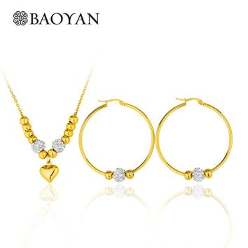 Baoyan 316L Stainless Steel Jewelry Gold Color Beaded Hoop Earring with Crystal Heart Bead Pendant Necklace Jewellery Sets Women