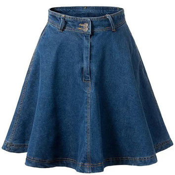Shop Denim Flare Skirt on Wanelo