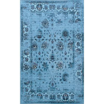 nuLOOM Traditional Vintage Inspired Overdyed Floral Turquoise Rug (8' x 10') | Overstock.com Shopping - The Best Deals on 7x9 - 10x14 Rugs